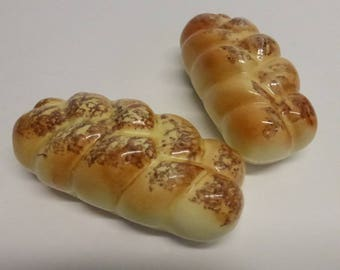 Vintage Mid Century Ceramic Braided Bread Salt and Pepper Shakers