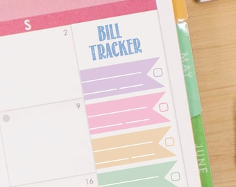 Pastel Rainbow Flag Bill Tracker Sticker Printable - Instant Download - to fit your Erin Condren MonthlyBoxes
