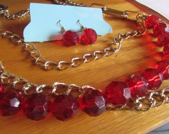 RED lucite chain necklace