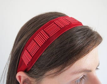 Red Velvet Headband, Beaded Headbands for Women, Womens Elasticated Headband, Retro Style Hairband, Adult Bridesmaid Headband, Gift Boxed