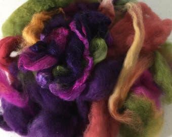 Merino Wool, Hand dyed superfine merino, wool and silk scraps