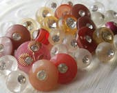 Vintage buttons, lot of 26 assorted pink, clear, and white acrylic with rhinestones,  (mar 297 17 )