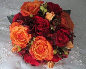 Orange and Red Autumn and Fall Rich and Romantic Bridal  Destination Wedding Bouquet Set