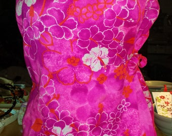 Pink White Wrap Around Hawaiian Dress, Vintage Fit and Flare Dress