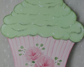 Cupcake Plaque Hand Painted Pink Roses Cottage chic home wall Kitchen decor