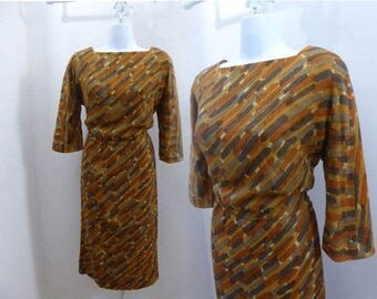 Vintage 60s Dress Size M Gold Olive Rust Atomic Mod Cocktail Mohair 50s Wiggle
