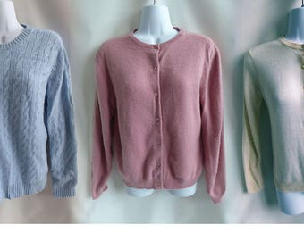 100% Cashmere Sweaters Lot of 3 Craft Cutters recycled Pastel Blue Cream 120T