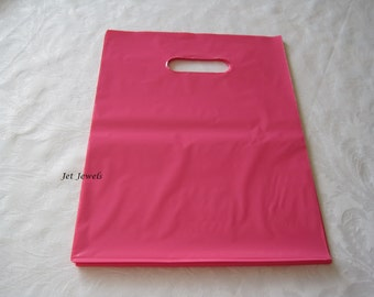 50 Plastic Bags, Pink Bags, Retail Merchandise Gift Bags, Party Favor Bag, Shopping Bags, Bags with Cut Out Handle 12x15