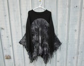 Gothic Raw Tattered Sweater Tunic Top// Upcycled// Altered Clothing// XL 1X 2X Plus Sizes// Black Gray// emmevielle