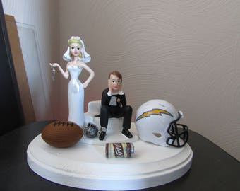 San Diego Chargers Cake Topper Bridal Funny Humorous Wedding Day Football NFL team Themed matching Bridal garter Hair color changed for free