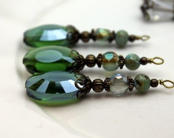 Emerald Green Faceted Oval Crystal and Coin Crystal Beaded Long Necklace Pendant, Bead Dangle, Earring Dangle, Charm Drop Set