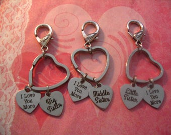 Big Sister Middle Sister Little Sister I Love You More Keychains Purse Charms Jewelry Accessory Gift