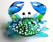 Blue White Dots CRAB Hand Blown Art Glass Animal Figurine Nice Collectible Gifts Ocean Marine Llife Crab Glass Figurine