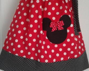 Disney Minnie Mouse Dress, Handmade Dress, Red Polka Dot Dress, Baby Dress,Toddler Dress, Girls Dress, Disney Theme Dress, Pillowcase Dress