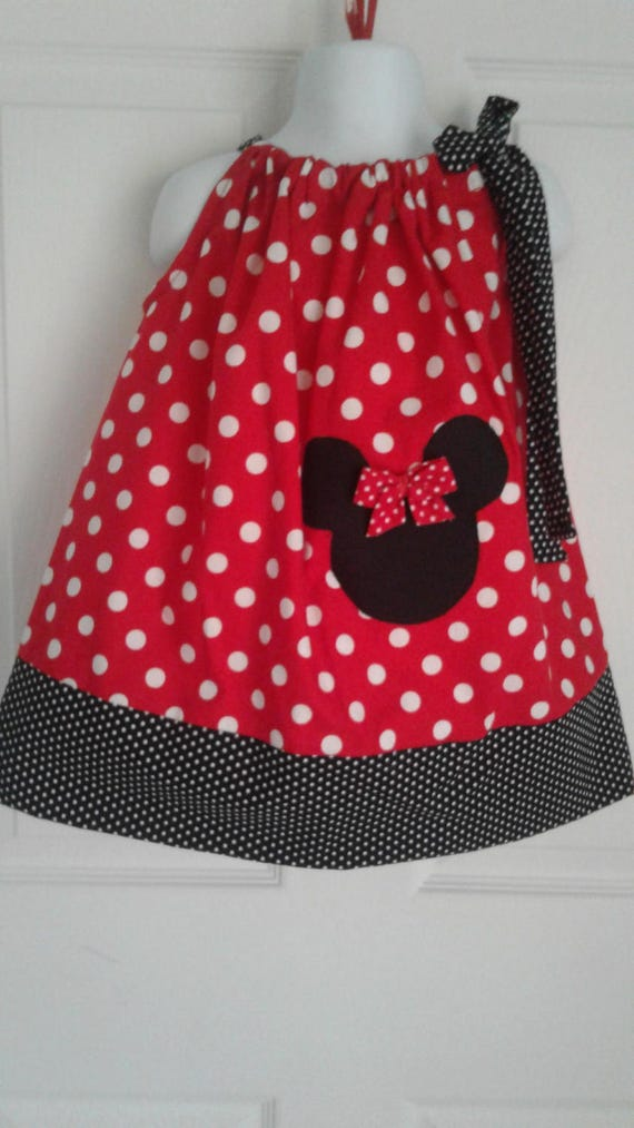 Disney Minnie Mouse Dress, Handmade Dress, Red Polka Dot Dress, Baby Dress,Toddler Dress, Girls Dress, Disney Theme Dress, Pillowcase Dress