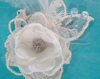 Bridal Hair rose, Ivory Lace, silk, Feather Rose Hair Clip K210 - beaded bridal wedding hair accessory