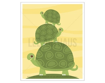 108A Turtle Nursery Print - Three Turtles Wall Art - Turtle Wall Art - Turtle Poster - Turtle Nursery Decor - Woodland Nursery Print