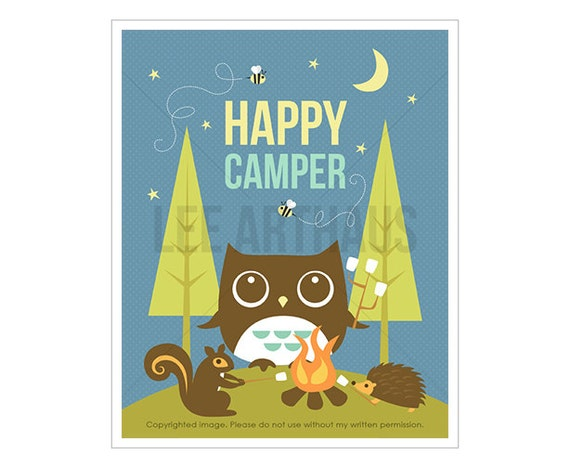 17T Owl Nursery Print - Happy Camper - Campfire Owl and Friends Wall Art - Inspirational Quote - Owl Print - Camping Print - Cabin Decor