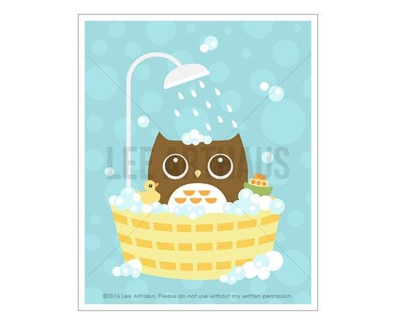 34A Bathroom Print - Owl in Bathtub Wall Art - Bathroom Wall Art - Bathroom Artwork - Bathroom Decor - Woodland Owl Print - Bathroom Poster