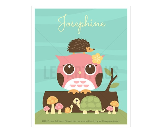 123P Owl Nursery Print - Personalized Pink Owl and Friends Wall Art - Custom Name Print - Girl Wall Art - Personalized Baby Girl Wall Art