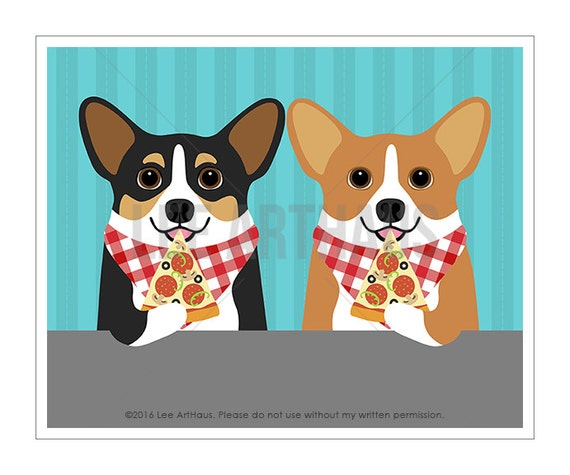 303D Pizza Art - Two Corgi Dogs Eating Slice of Pizza Wall Art - Pizza Lover Gift - Corgi Print - Pembroke Welsh Corgi Art - Corgi Gifts