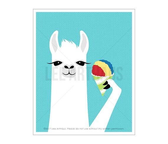 54J - Children Decor - White Llama Eating Rainbow Snow Cone Wall Art - Dessert Print - Snow Cone Decor - Snow Cone Print - Kids Wall Art