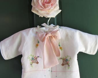 0-3mos. Baby Girl Jacket with Vintage Embroiderery