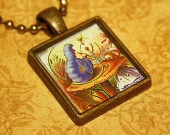 Alice And The Caterpillar Resin Necklace - Alice In Wonderland - Resin Pendant
