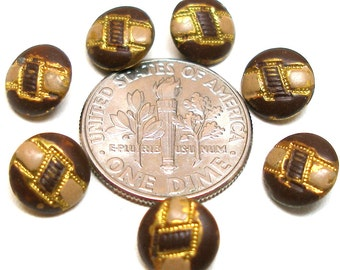 """Tiny BUTTONS, 7 Petite Art Deco metal with buckle design, Doll size 1/3""""."""