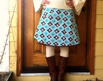 Women's Wrap Skirt  -Chocolate Aqua Daisy- Adjustable Size - Ready to Ship