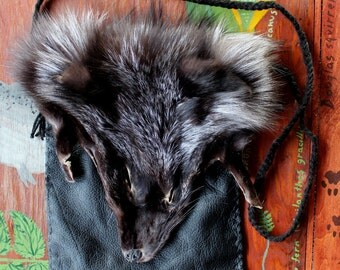 Fox fur and leather pouch - eco friendly recycled leather, silver fox face, yarn bag purse pocket