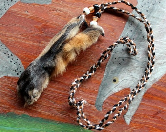 Real red fox paw with claws fur necklace with braided cord and glass beads - simple nature jewelry for costumes, holidays, more