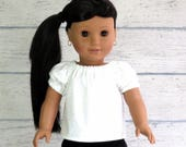 18 inch Doll White Floral Peasant Top