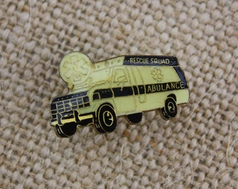 Rescue Squad Ambulance - Enamel Pin by American Gag Bag Inc. - Vintage Novelty Pin c. 1980s