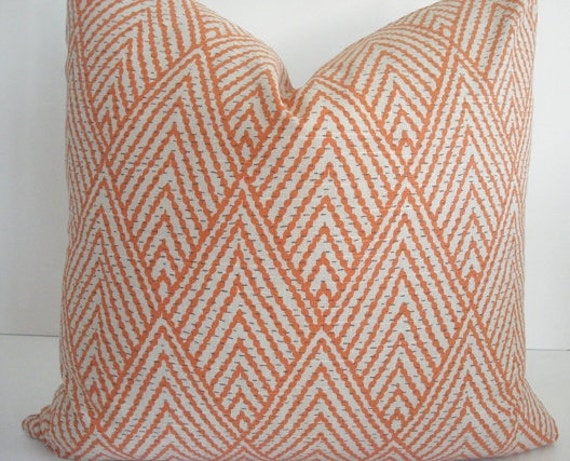 "Lacefield Tahitian Stitch Tangerine - Designer Pillow Cover -18""x18"""