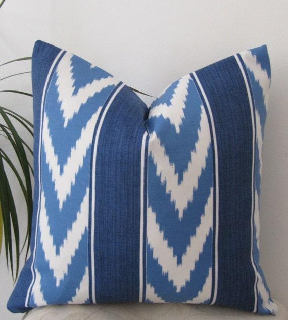 "Ikat Stripe Indoor/Outdoor Pillow Cover - Lumbar Pillow Cover 12""x18""- Pillowcase 18""x18"" -Invisible Zipper"