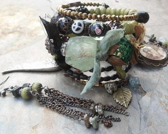 Heal Me Peridot Onyx BOHO Rosary Wrap Bracelet French Art Angels