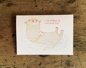 I'm Otterly In Love with You Handprinted Card