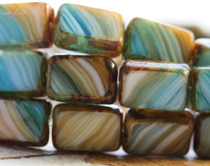 SANDY BEACH No. 1 .. NEW 15 Picasso Czech Glass Rectangle Beads 12x8mm (B1019-st)