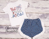 Baby Girl 4th of July Outfit, Memorial Day, Baby Clothes, Toddler Set, Glitter Top Shorts, Red White and Cute