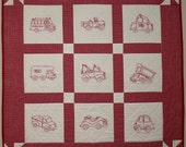 Redwork Baby Quilt, Wall Hanging, Hand Embroidered Cars, Red