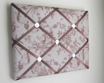 "11""x14"" Memory Board, Memo Board, Vision Board, Photo Display, Business Card Holder,  Pin Board, Madame Butterfly Tan Toile"