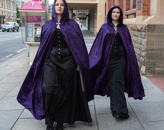 Long Purple Crushed Velvet Cloak