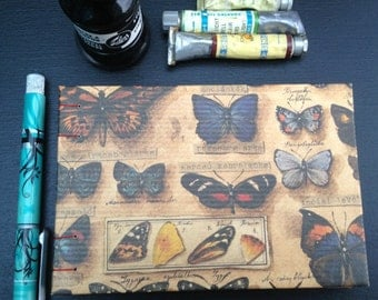 butterfly handmade blank book, vintage looking Italian paper notebook,nature travel diary,butterflies writing journal, sketchbook,photobook,