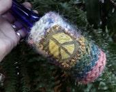 Hippie Festival, beer cooler, can cooler, bottle cooler, Beer holder, Cheers,  D26, Hippie peace, hippie crochet, boho beer, crochet beer