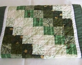 Scrappy Table Runner in Shades of Green and Tan