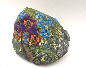 PURPLE HOUSE hand painted rock art original by MOTYL