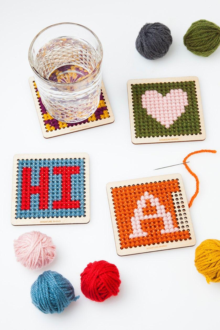 diy cross stitch wood coaster kit set of four personalized. Black Bedroom Furniture Sets. Home Design Ideas