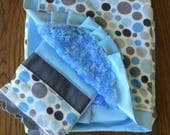 NEW....Blue and Gray Satin and  Minky Blanket and Burp Cloth Set - Can Be Personalized