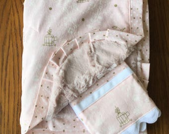 NEW...Blush Pink and Gold Bird and Bird Cage Minky Blanket and Burp Cloth Set...Personalization Available
